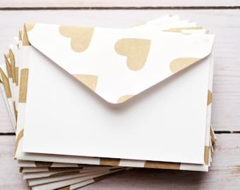 Gold Heart Mini Cards // Blank Cards // Enclosure Cards // Love Note // Advice Cards // Gift Card Envelope // Bridal Shower