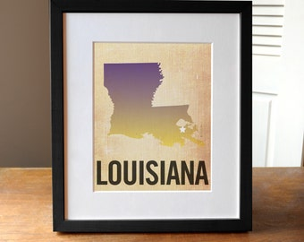 Louisiana Print, State Print Louisiana, New Orleans Print, Burlap, Ombre, Louisiana Art