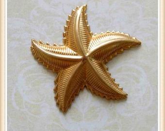 1 pc starfish raw brass embellishment stamping #4083