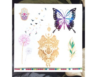 Canvas Wall Decor Art • Nature Montage • Butterfly Hamsa Flowers Friends • Lalas Workshop