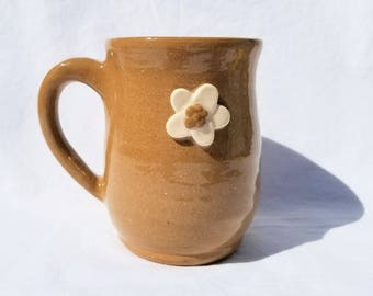 handmade pottery mug - stoneware ceramic mug with clay flowers - pottery coffee mug, ceramic teacup - rustic pottery