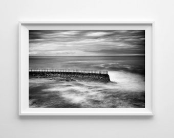 San Diego Beach Decor - La Jolla Seawall Black and White California Beach Art, Pacific Ocean Decor - Large Wall Art Prints Available