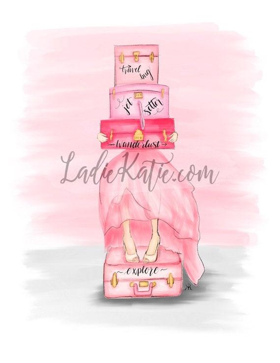 Travel bug, wanderlust, jet setter, girly illustration, girly girl art, girly art, fashion sketch, pink lover, gifts for her
