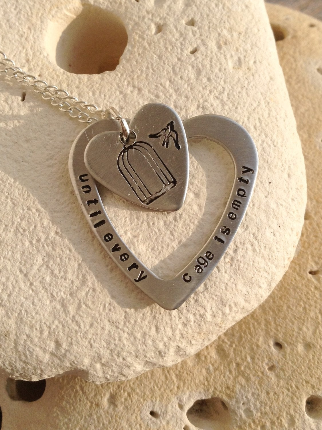 Vegan necklace, vegan jewelry, until every cage is empty, animal rights, handstamped heart washer and heart pendant on 18