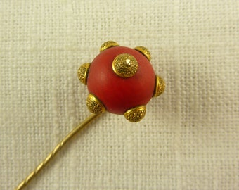 Antique Victorian Gold Filled Red Wooden Orb Stick Pin