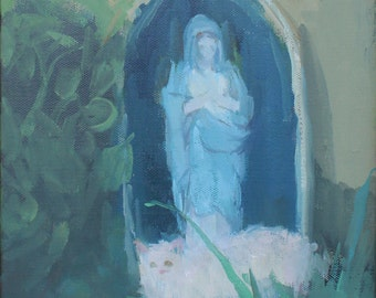 original oil painting of white cat and mother mary
