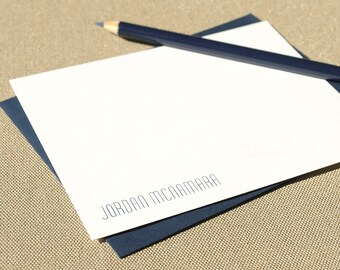 Personalized Flat Stationery Cards with Name / Modern Unisex Personalized Stationery Notecard Set