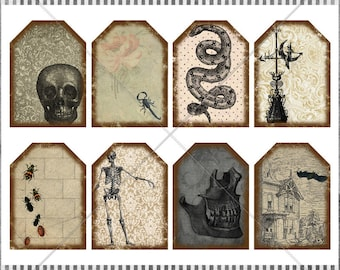 DIGITAL Collage Sheet - Creepy Scary Halloween Tags - Vintage Skulls, Snake, Witch, Scorpion - Printable Distressed Tags - Halloween ATC