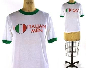 80s I Love Italian Men T-Shirt Vintage 1980s Novelty Tee Screenprinted Ringer Shirt Macho Man Ironic Weird Hipster Traveller 38 Chest Unisex