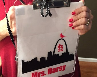St. Louis Cardinal's Fan Gift Clipboard, Cardinal's Teacher gift, Teacher Cardinals fan Gift, St. Louis skyline mac laptop
