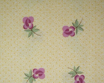 1 YARD Cotton Fabric Miniature Roses in Gold ~ Sweet Escape by Verna Mosquera for Free Spirit ~