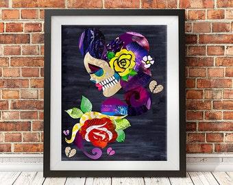 Sugar Skull, Skull wall art print, tattoo inspired art, mixed media collage art, day of the dead, artpoptart