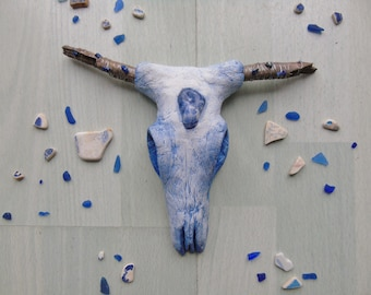 Small Faux Cow Skull 'Rain' -  Decorative Skull - Hand Sculpted Clay - Hand Painted - Unique Home Decor - Faux Taxidermy