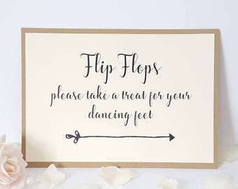 Wedding Flip Flops Sign A5 - take a treat for your dancing feet - Ivory Cream & Kraft