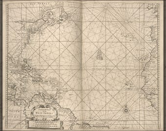 Poster, Many Sizes Available; General Chart Of West Indies Cuba Florida 1700