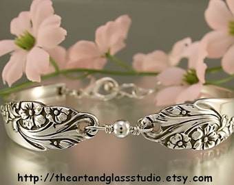 Silver Spoon Bracelet EVENING STAR Jewelry Vintage, Silverware, Gift, Anniversary, Wedding, Birthday