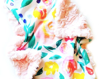 READY TO SHIP, Floral Lovey Blanket, Floral Girl Lovey, baby Minky blanket, flowers lovey, Indy Floral Blanket, Faux Fur Baby Blanket, baby
