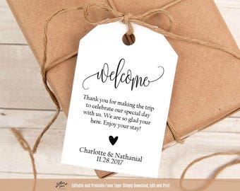 Welcome Wedding Tags, Printable Wedding Welcome Favor Tag Template, Hotel Welcome Bag Tag, Instant Download PDF, WLP343