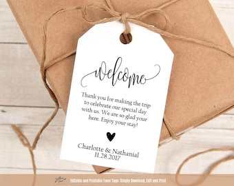 Welcome bag tags etsy for Tags for gift bags template