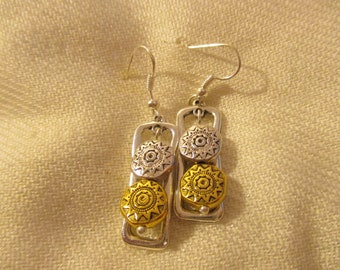 Gold and Silver Drop Silver Earrings