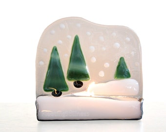 Christmas Decoration Stained Glass Candle Holder Snow Christmas Tree Handmade OOAK