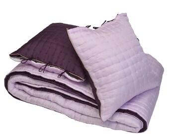 Pink plum 100% natural silk quilt -    Silk quilt - Silk bedspread - Quilted bedspread - Silk bedcover - Silk blanket
