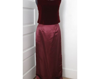 Bodice and Long Skirt Set Size 10/12 Velvet and Shantung (Mother/Daughter option)