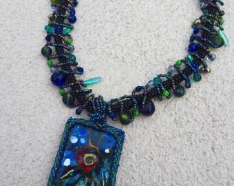 Blue Enameled Beaded Art Necklace