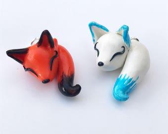 Cute Fox Charm, Kawaii OOAK Polymer Clay Sleeping Fox Charms, Orange Red White Little Fox Kitsune Charm Necklace