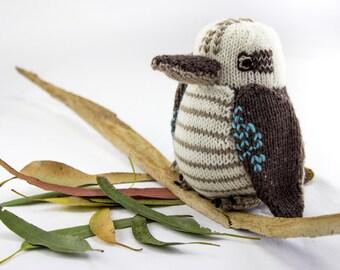 KNITTING PATTERN, Toy Knitting Pattern,  Kookaburra, Wildlife Toy, Soft Toy, Knitted Softie Pattern, Bird Knitting Pattern, Knit Bird, PDF