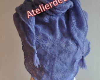 Shawl, scarf, silk Alpaca hand knit shoulder warmer