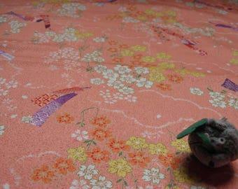 Fabric flower pattern collection Ikanobori pink background - 50 cm