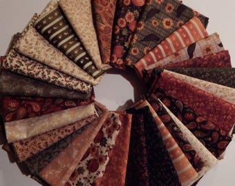NEW Pumpkin Patch Fall Quilt Fabric 100% Cotton 27 Coordinating Fat Quarters  Full Line