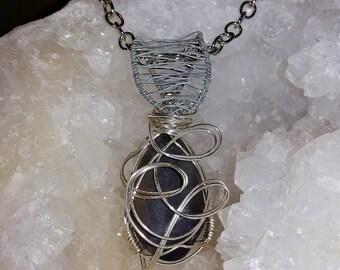 Detailed Amethyst Swirl Handmade Wire Pendant