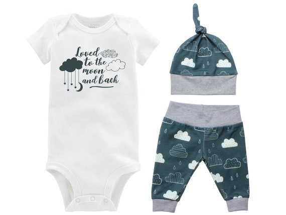 Boy Going Home Set Loved to the Moon and Back Onesie Bodysuit Infant Gift Set Clouds Moon Boy Coming Home Outfit Mountains Baby Shower Gift