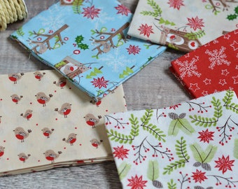 Christmas, Blue, Home decor,  Wall decor, Gift for Mom, Birds, Quilting, Fabric Bundle, Pine Cones, Red, Fat Quarters, Robins, Snowflakes,