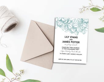 Eucalyptus Engagement Party Invitation - A6 Printable Engagement Announcement for download