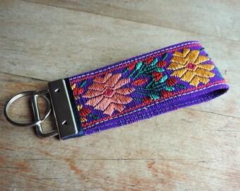 Fabric Flower Keychain, Fob Key, Key Ring Keychain,  Floral Key Fob, Keychain For Women, Blue Keychain, Guatemala