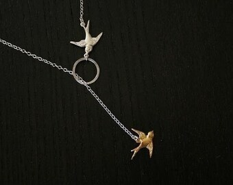 Karma Live Forever Sterling Silver Circle Bird Charm Lariat Necklace Best Gift For Her
