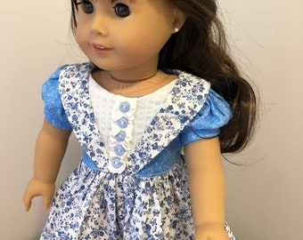 1800's Dark blue  and white  floral print Dress / fits american girl type dolls