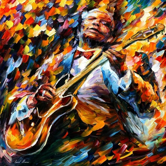 bb king blues musician portrait oil painting on canvas by. Black Bedroom Furniture Sets. Home Design Ideas