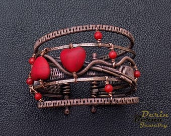 Wire wrapping copper red coral hearts bangle bracelet,wire wrapped bracelet,red women bracelet,Red Coral charm copper bracelet,Red Bracelet