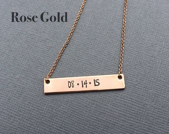 ROSE GOLD Bar Necklace, Custom Date Necklace, Wedding Gift, Hand Stamped Necklace, Rose Gold Necklace, Personalized Gift, Gift Idea for Wife