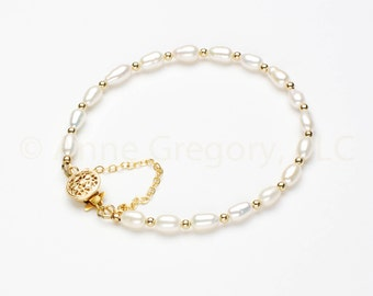 Cultured White Freshwater Pearl Bracelet, Grade A Cultured White Freshwater Pearls, Gold Filigree Clasp, Magnet Clasp, 4MM Rice Pearl Strand
