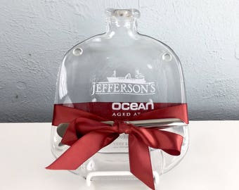 Jefferson Ocean Bourbon Upcycled Melted Bottle Cheese Plate or Wall Hanging by Mitchell Glassworks, Kentucy Bourbon Lover Gift, Groomsmen
