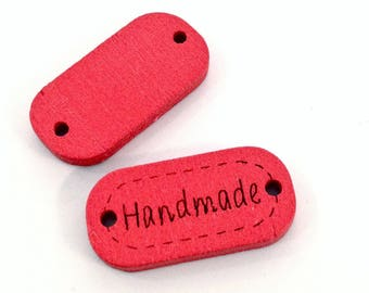 ♥ X 1 button wood 24mm HANDMADE Red ♥