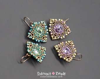 Earrings Tutorial - Beading Pattern - Bezeled Rivolis Earrings - Fanned Away Earrings