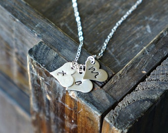 Three Silver Hearts Necklace with Initials / 3 Silver Heart Pendants on Sterling Silver Chain ... choose your letters or leave blank