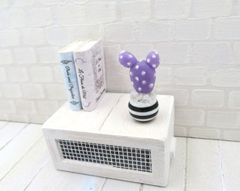 Cactus lilac Opuntia in black and white striped vase for dollhouse in 1:12 scale