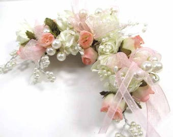 Blush Pink Peach and Ivory Pearl Mini Rose 7.5 inch Bridal Hair Clip